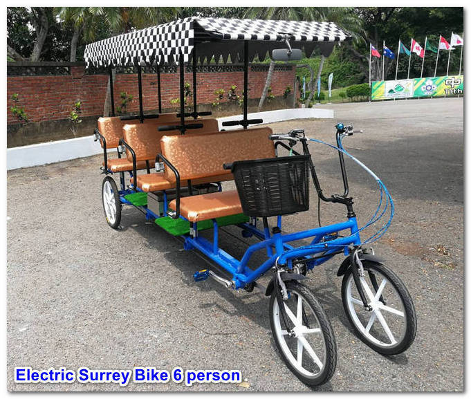 Six Person Electric Surrey Bike Quadricycle
